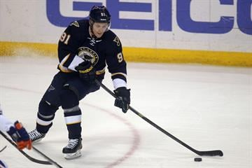 St. Louis Blues Vladimir Tarasenko of Russia sets up to take a shot for a goal against the Edmonton Oilers in the first period at the Scottrade Center in St. Louis on January 13, 2015.    Photo by Bill Greenblatt/UPI By BILL GREENBLATT