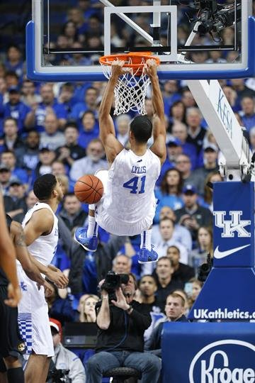 LEXINGTON, KY - JANUARY 13: Trey Lyles #41 of the Kentucky Wildcats dunks the ball against the Missouri Tigers in the first half of the game at Rupp Arena on January 13, 2015 in Lexington, Kentucky. (Photo by Joe Robbins/Getty Images) By Joe Robbins
