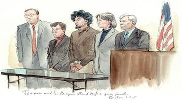 Dzhokhar Tsarnaev and his attorneys stand before the jury pool as selection continued in Boston, Massachusetts on Jan. 7, 2015. By Stephanie Baumer
