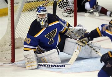 St. Louis Blues goaltender Martin Brodeur watches the action in the second period against the Colorado Avalanche at the Scottrade Center in St. Louis on December 29, 2014. St. Louis defeated Colorado 3-0. UPI/Bill Greenblatt By BILL GREENBLATT