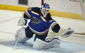 St. Louis Blues goaltender Martin Brodeur makes a glove save against the Colorado Avalanche in the third period at the Scottrade Center in St. Louis on December 29, 2014. St. Louis defeated Colorado 3-0. UPI/Bill Greenblatt By BILL GREENBLATT