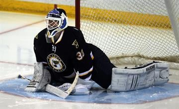 St. Louis Blues goaltender Martin Brodeur stretches before the start of the third period against the Florida Panthers at the Scottrade Center in St. Louis on December 8, 2014.    UPI/Bill Greenblatt By BILL GREENBLATT