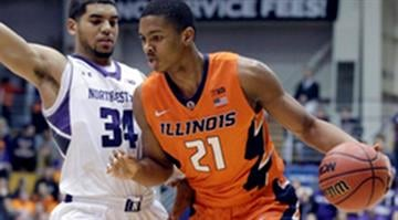 Illinois guard Malcolm Hill (21) drives against Northwestern guard/forward Sanjay Lumpkin (34) during the first half of an NCAA college basketball game on Wednesday, Jan. 14, 2015, in Evanston, Ill. (AP Photo/Nam Y. Huh) By Nam Y. Huh