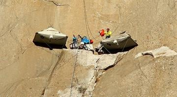 Tommy Caldwell and Kevin Jorgeson have been climbing the 3,000-foot tall rock formation Dawn Wall since Dec. 27, 2014 to reach top of El Capitan in Yosemite National Park in California. By Stephanie Baumer