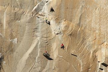 Tommy Caldwell and Kevin Jorgeson have been climbing the 3,000-foot tall rock formation Dawn Wall since Dec. 27, 2014 to reach top of El Capitan in Yosemite National Park in California. By Tom Evans