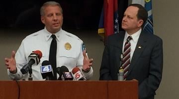 Mayor Slay and Chief Dotson during a presser after 6 are killed in the matter of 13 hours in St. Louis. By Shawn Campbell