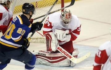 Detroit Red Wings goaltender Petr Mrazek of the Czeck Republic makes a save on a shot by St. Louis Blues Alexander Steen in the first period at the Scottrade Center in St. Louis on January 15, 2015. Photo by Bill Greenblatt/UPI By BILL GREENBLATT