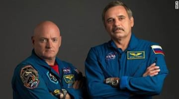NASA astronaut Scott Kelly, left, and Russian cosmonaut Mikhail Kornienko will spend a year together on the International Space Station. By Adam McDonald