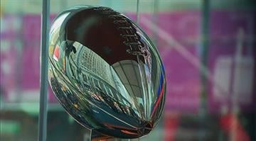 The Lombardi Trophy sits in Super Bowl Boulevard in New York City, New York ahead of the Super Bowl. By Stephanie Baumer