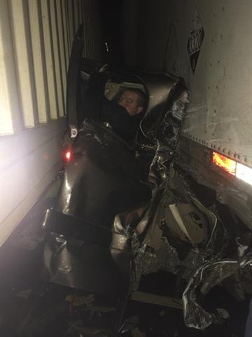 Kaleb Whitby survived a terrifying 26-vehicle crash on an Oregon interstate Saturday, Jan. 17, 2015, when he plowed into the back of a jackknifed semi. By Sergi Karplyuk