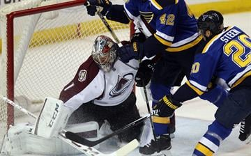 Colorado Avalanche goaltender Semyon Varlamov of Russia stops a shot on goal by St. Louis Blues Alexander Steen in the first period at the Scottrade Center in St. Louis on January 19, 2015. Photo by Bill Greenblatt/UPI By BILL GREENBLATT
