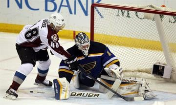 St. Louis Blues goaltender Brian Elliott makes a pad save on a shot by Colorado Avalanche Daniel Briere in the first period at the Scottrade Center in St. Louis on January 19, 2015. Photo by Bill Greenblatt/UPI By BILL GREENBLATT