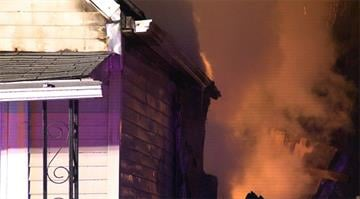 The fire began just after 1:30 a.m. in the 4100 block of Lea Place.  At one point, the fire started melting the siding on a neighbor's home. By Stephanie Baumer