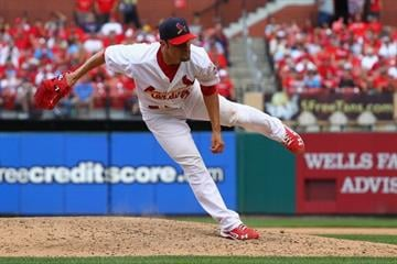 ST. LOUIS, MO - AUGUST 19: Starter Jamie Garcia #54 of the St. Louis Cardinals pitches against the Pittsburgh Pirates at Busch Stadium on August 19, 2012 in St. Louis, Missouri.  (Photo by Dilip Vishwanat/Getty Images) By Dilip Vishwanat