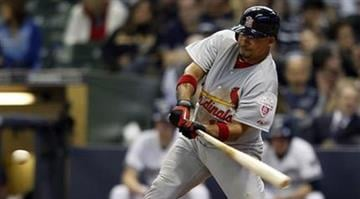 St. Louis Cardinals' Rafael Furcal hits a double in the ninth inning against the Milwaukee Brewers during an opening day baseball game on Friday, April 6, 2012, in Milwaukee. (AP Photo/Jeffrey Phelps) By KMOV Web Producer