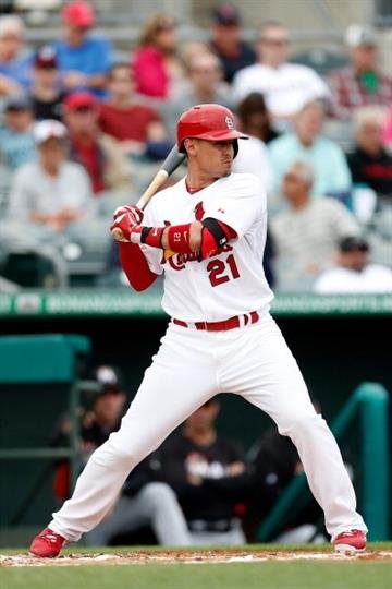 JUPITER, FL - FEBRUARY 28: Allen Craig #21 of the St. Louis Cardinals at bat against the Miami Marlins at the Roger Dean Stadium on February 28, 2013 in Jupiter, Florida.  (Photo by Chris Trotman/Getty Images) By Chris Trotman