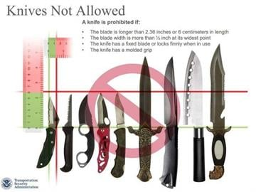 Knives not allowed on flights. By Sarah Heath