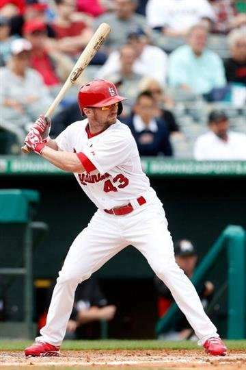 JUPITER, FL - FEBRUARY 28: Shane Robinson #43 of the St. Louis Cardinals at bat against the Miami Marlins at the Roger Dean Stadium on February 28, 2013 in Jupiter, Florida.  (Photo by Chris Trotman/Getty Images) By Chris Trotman