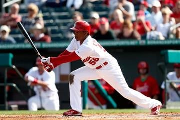 JUPITER, FL - FEBRUARY 28: Adron Chambers #56 of the St. Louis Cardinals bats against Miami Marlins at the Roger Dean Stadium on February 28, 2013 in Jupiter, Florida.  (Photo by Chris Trotman/Getty Images) By Chris Trotman