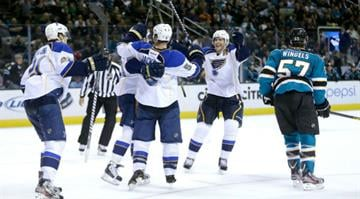 SAN JOSE, CA - MARCH 09: The St. Louis Blues celebrate after Patrik Berglund #21 scored an overtime goal to beat the San Jose Sharks at HP Pavilion on March 9, 2013 in San Jose, California.  (Photo by Ezra Shaw/Getty Images) By Dan Mueller