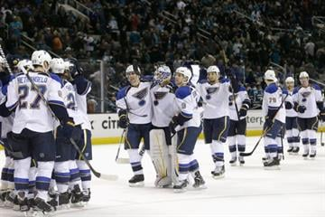 SAN JOSE, CA - MARCH 09: The St. Louis Blues celebrate after Patrik Berglund #21 scored an overtime goal to beat the San Jose Sharks at HP Pavilion on March 9, 2013 in San Jose, California.  (Photo by Ezra Shaw/Getty Images) By Ezra Shaw