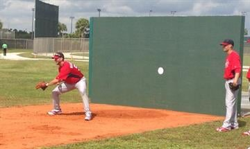 Adam Wainwright on the practice mound at spring training.  February 2013 By Bryce Moore
