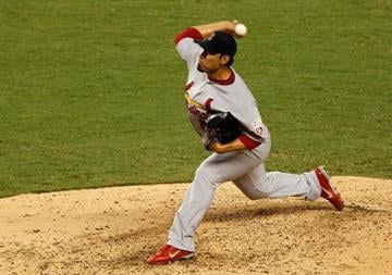 MIAMI, FL - JUNE 25: Fernando Salas #59 of the St. Louis Cardinals pitches during a game against the Miami Marlins at Marlins Park on June 25, 2012 in Miami, Florida.  (Photo by Mike Ehrmann/Getty Images) By Mike Ehrmann