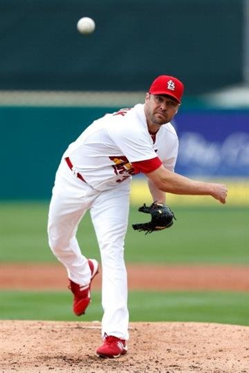JUPITER, FL - FEBRUARY 28:  Jake Westbrook #35 of the St. Louis Cardinals delivers a pitch against the Miami Marlins  at Roger Dean Stadium on February 28, 2013 in Jupiter, Florida.  (Photo by Chris Trotman/Getty Images) By Chris Trotman