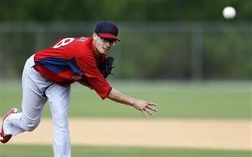 St. Louis Cardinals starting pitcher Joe Kelly pitches a live batting practice session at spring training baseball, Tuesday, Feb. 19, 2013, in Jupiter, Fla. (AP Photo/Julio Cortez) By Julio Cortez