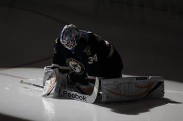 St. Louis Blues goaltender Jake Allen stretches just before the third period against the Phoenix Coyotes at the Scottrade Center in St. Louis on March 14, 2013. St. Louis won the game 3-0.   UPI/Bill Greenblatt By BILL GREENBLATT