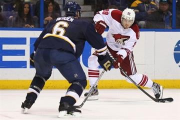 ST. LOUIS, MO - MARCH 14:  Mikkel Boedker #89 of the Phoenix Coyotes takes a shot on goal against the St. Louis Blues at the Scottrade Center on March 14, 2013 in St. Louis, Missouri.  (Photo by Dilip Vishwanat/Getty Images) By Dilip Vishwanat