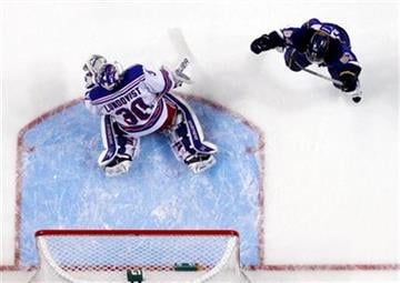 St. Louis Blues' David Perron, right, celebrates after scoring past New York Rangers goalie Henrik Lundqvist, of Sweden, during the first period of an NHL hockey game Thursday, Dec. 15, 2011, in St. Louis. (AP Photo/Jeff Roberson) By Jeff Roberson