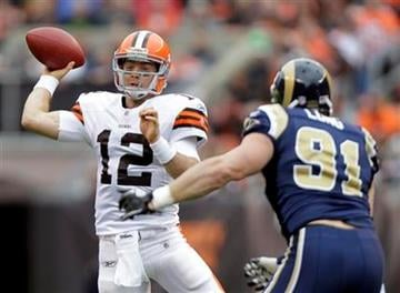 Cleveland Browns quarterback Colt McCoy (12) throws under pressure from St. Louis Rams' Chris Long (91) in the first quarter of an NFL football game on Sunday, Nov. 13, 2011, in Cleveland. (AP Photo/Mark Duncan) By Mark Duncan