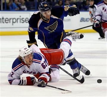 New York Rangers' Carl Hagelin, of Sweden, falls after colliding with St. Louis Blues' Carlo Colaiacovo, top, during the first period of an NHL hockey game Thursday, Dec. 15, 2011, in St. Louis. (AP Photo/Jeff Roberson) By Jeff Roberson