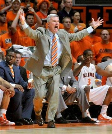 Illinois' Bruce Weber reacts along the sideline in first-half NCAA college basketball game action against Wisconsin at Assembly Hall in Champaign, Ill., on Sunday, March 7, 2010. (AP photo/John Dixon) By John Dixon