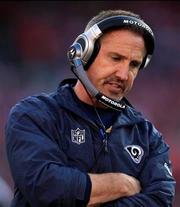 St. Louis Rams head coach Steve Spagnuolo stands on the sideline during the fourth quarter of an NFL football game against the San Francisco 49ers in San Francisco, Sunday, Dec. 4, 2011. (AP Photo/Marcio Jose Sanchez) By Marcio Jose Sanchez