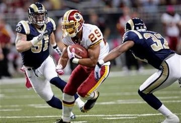 Washington Redskins running back Roy Helu runs between St. Louis Rams defenders Chris Long, left, and Bradley Fletcher during the first quarter of the NFL football game Sunday, Oct. 2, 2011, in St. Louis. (AP Photo/Tom Gannam) By Tom Gannam