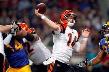 Cincinnati Bengals quarterback Andy Dalton throws during the first quarter of an NFL football game against the St. Louis Rams on Sunday, Dec. 18, 2011, in St. Louis. (AP Photo/Jeff Roberson) By Jeff Roberson