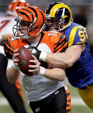 Cincinnati Bengals quarterback Andy Dalton, left, is sacked for a 6-yard loss by St. Louis Rams defensive end Chris Long during the second quarter of an NFL football game Sunday, Dec. 18, 2011, in St. Louis. (AP Photo/Tom Gannam) By Tom Gannam