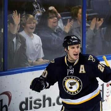 St. Louis Blues' Alexander Steen celebrates his goal against the Columbus Blue Jackets in the third period of an NHL hockey game Sunday, Dec. 18, 2011, in St. Louis. The Blues won 6-4. (AP Photo/Bill Boyce) By Bill Boyce