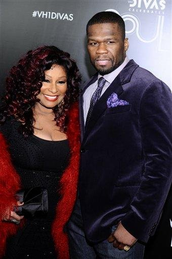 "Chaka Khan, left, and 50 Cent arrive at ""Vh1 Divas Celebrates Soul"" on Sunday, Dec. 18, 2011 in New York. (AP Photo/Charles Sykes) By Charles Sykes"