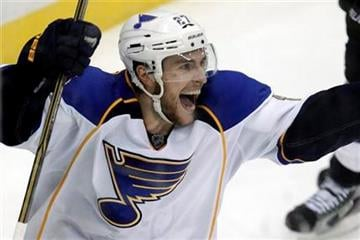 St. Louis Blues' Alex Pietrangelo celebrates his game-winning overtime goal against the Pittsburgh Penguins in an NHL hockey game in Pittsburgh on Wednesday, Nov. 23, 2011. The Blues won 3-2. (AP Photo/Gene J. Puskar) By Gene J. Puskar