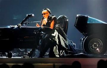 US pop star Lady Gaga performs a song during the Bambi 2011 media award ceremony in Wiesbaden, Germany, Thursday, Nov. 10, 2011. Lady Gaga was awarded the prize for best pop international. (AP Photo/Michael Probst) By Michael Probst