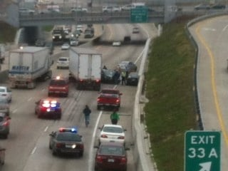 This December 22, 2011 photo shows westbound HIghway 40.I-64 at Big Bend where two cars collided with a semi truck By KMOV Web Producer