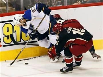 St. Louis Blues' Alex Pietrangelo (27) battles Phoenix Coyotes' Boyd Gordon, right, for the puck during the second period of an NHL hockey game, Friday, Dec. 23, 2011, in Glendale, Ariz. (AP Photo/Matt York) By Matt York