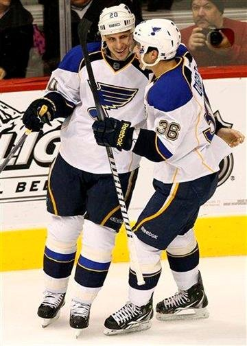 St. Louis Blues' Alexander Steen, left, celebrates his goal with Matt D'Agostini (36) against the Phoenix Coyotes during the second period of an NHL hockey game, Friday, Dec. 23, 2011, in Glendale, Ariz. (AP Photo/Matt York) By Matt York