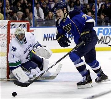 St. Louis Blues' Adam Cracknell, right, reaches for a loose puck as Vancouver Canucks goalie Roberto Luongo looks on during the second period of an NHL hockey game Monday, Dec. 20, 2010, in St. Louis. (AP Photo/Jeff Roberson) By Jeff Roberson