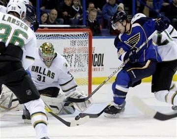 St. Louis Blues' Kevin Shattenkirk (22) tries to slide the puck past Dallas Stars goalie Richard Bachman (31) in the second period of an NHL hockey game, Monday, Dec. 26, 2011 in St. Louis.(AP Photo/Tom Gannam) By Tom Gannam