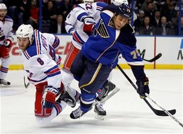 New York Rangers' Brandon Prust, left, and St. Louis Blues' Ryan Reaves collide during the second period of an NHL hockey game Thursday, Dec. 15, 2011, in St. Louis. (AP Photo/Jeff Roberson) By Jeff Roberson