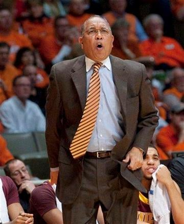 Minnesota coach Tubby Smith yells during the first half of an NCAA college basketball game against Illinois in Champaign, Ill., Tuesday, Dec. 27, 2011. Illinois won 81-72 in double overtime. (AP Photo/Robert K. O'Daniell) By Robert K. O'Daniell